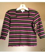 Pink and Black Striped Jersey / Top / Shirt - S/M - $5.00