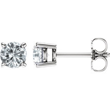 2.50CT Forever One Moissanite Round Stud Earrings 14K White Gold Pushback - $819.71