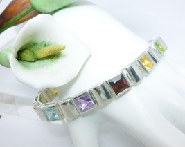 "Sterling Silver Princess Cut Multi-Gemstone Bracelet 7.25""  - $112.00"