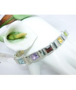 "Sterling Silver Princess Cut Multi-Gemstone Bracelet 7.25""  - $112.00"