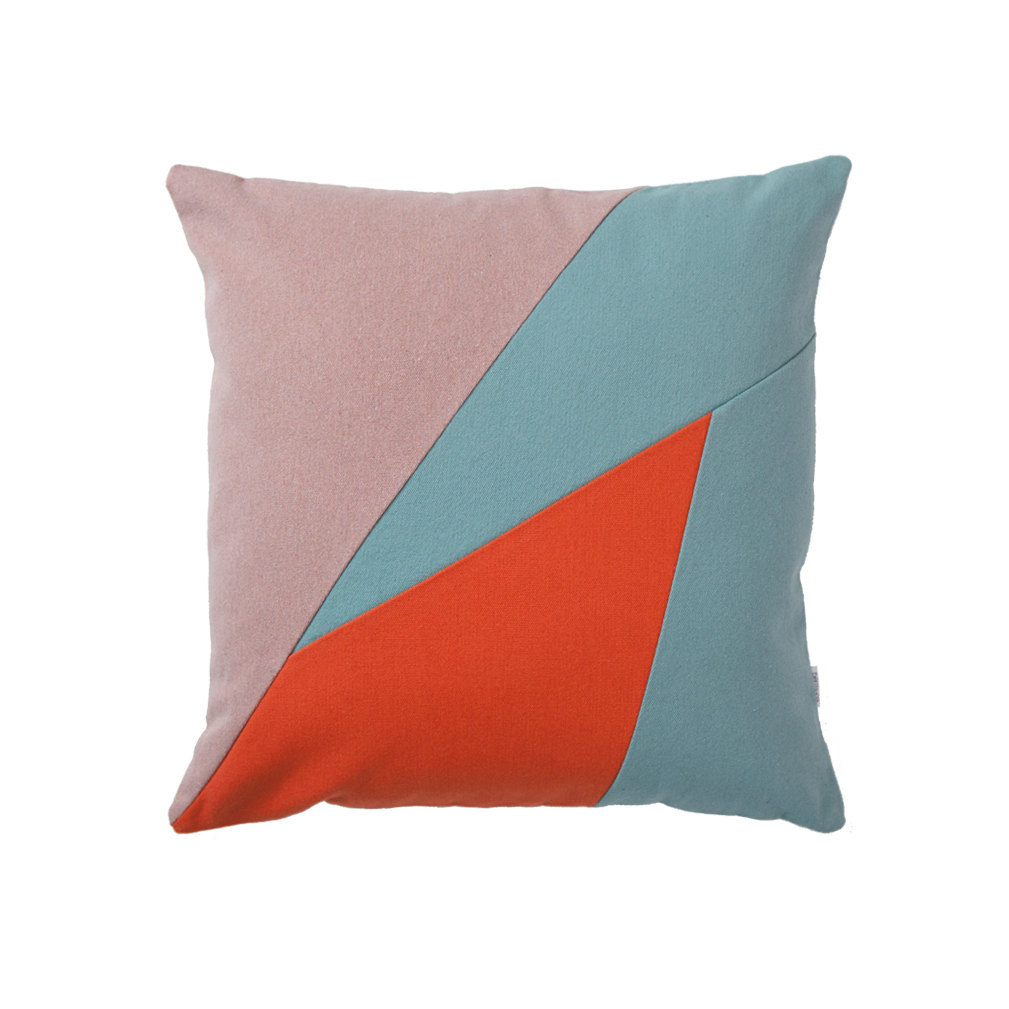 Geometric triangle design throw pillow Newport Beach Breeze 20x20 - Pillows