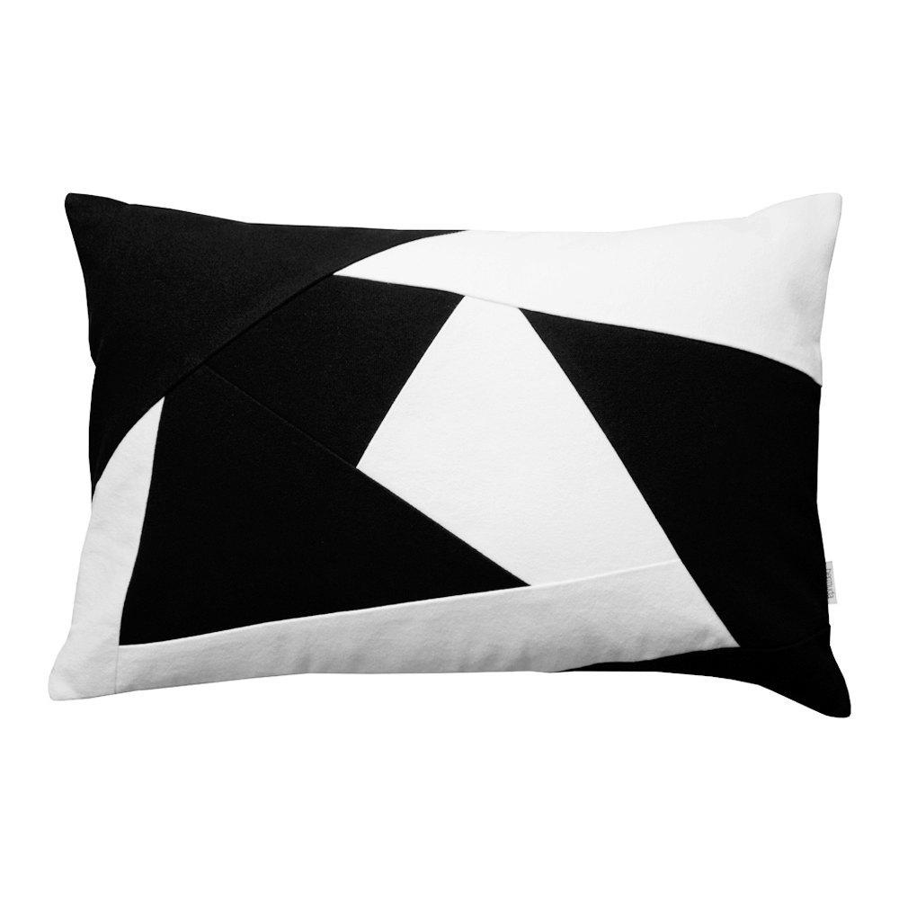 Black And White Geometric Lumbar Throw Pillow Atlantis