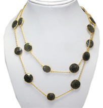 "Natural Labradorite Stone Brass 18 K Gold Vermeil 36"" Long Chain Vintage Necklace - $26.64"