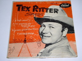 Tex Ritter Sings Autographed EP Record Picture Sleeve Vintage Capitol La... - $74.99