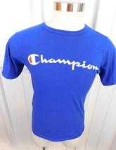 Vintage Champion Blue Bar Spellout Tee T-Shirt Men's Size M Blue Logo - $29.69