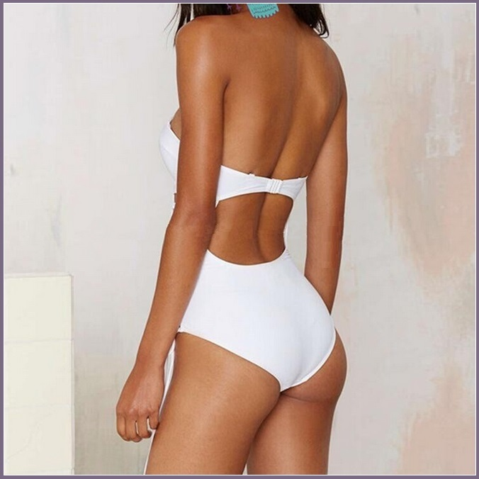 White or Black Push Up Bra MonoKini Open Lace Up Sides One Piece Swimsuit