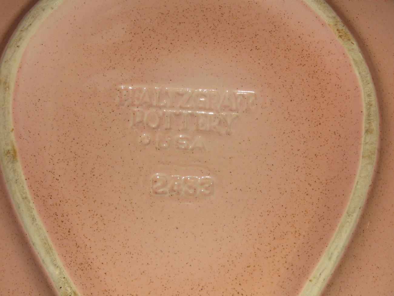 Pfaltzgraff Pottery Retro Pink pear shaped divided bowl - # 2433 Chip& Dip Bowl