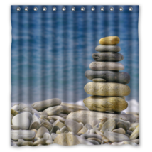 Piled Stone #03 Shower Curtain Waterproof Made From Polyester - $31.26+