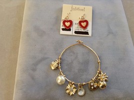 New Jubilee Flower Heart Set Earrings Bracelet Set Lady Bugs Gold Toned Red