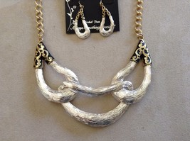 New Howards Necklace Earring Set Gold Toned Silver Toned Black Accents image 2
