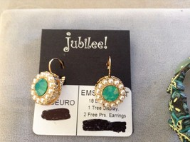 New Jubilee Earrings Silver Toned Gold Toned Sea Green Starfish Two Bracelet Set image 2