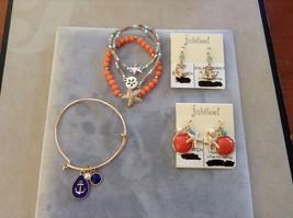 New Jubilee Ocean Lover Theme Earrings 2 Sets Bracelet Anchor Navy Blue Pink