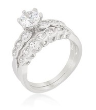 Cathedral Style Graduated 2pc Wedding Ring Engagement Set 2ct Cubic Zirc... - $19.99