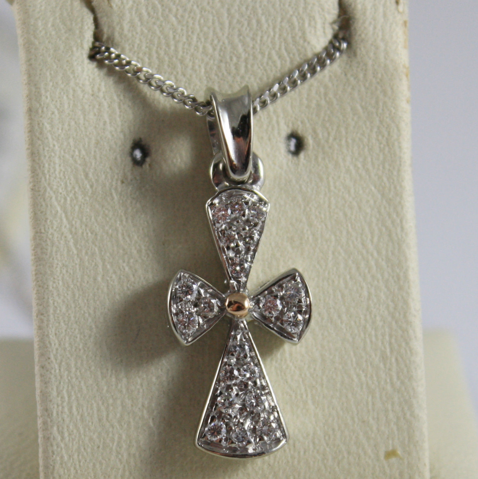 SOLID 18K WHITE GOLD NECKLACE WITH CROSS, DIAMONDS, DIAMOND MADE IN ITALY