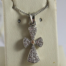 SOLID 18K WHITE GOLD NECKLACE WITH CROSS, DIAMONDS, DIAMOND MADE IN ITALY - $857.85