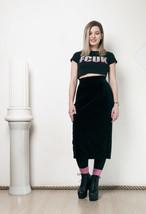 80s vintage Marimekko designer black velvet midi skirt - $60.95
