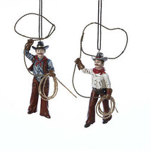 Western Cowboys With Lasso Ornament - $12.95