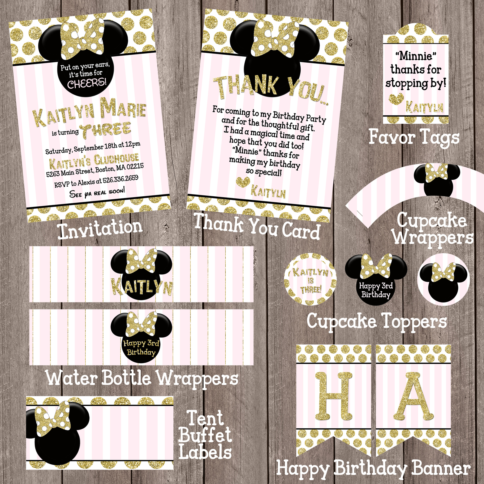 Primary image for PRINTABLE Pink Gold Black Minnie Mouse Mini Party Package Birthday Baby shower