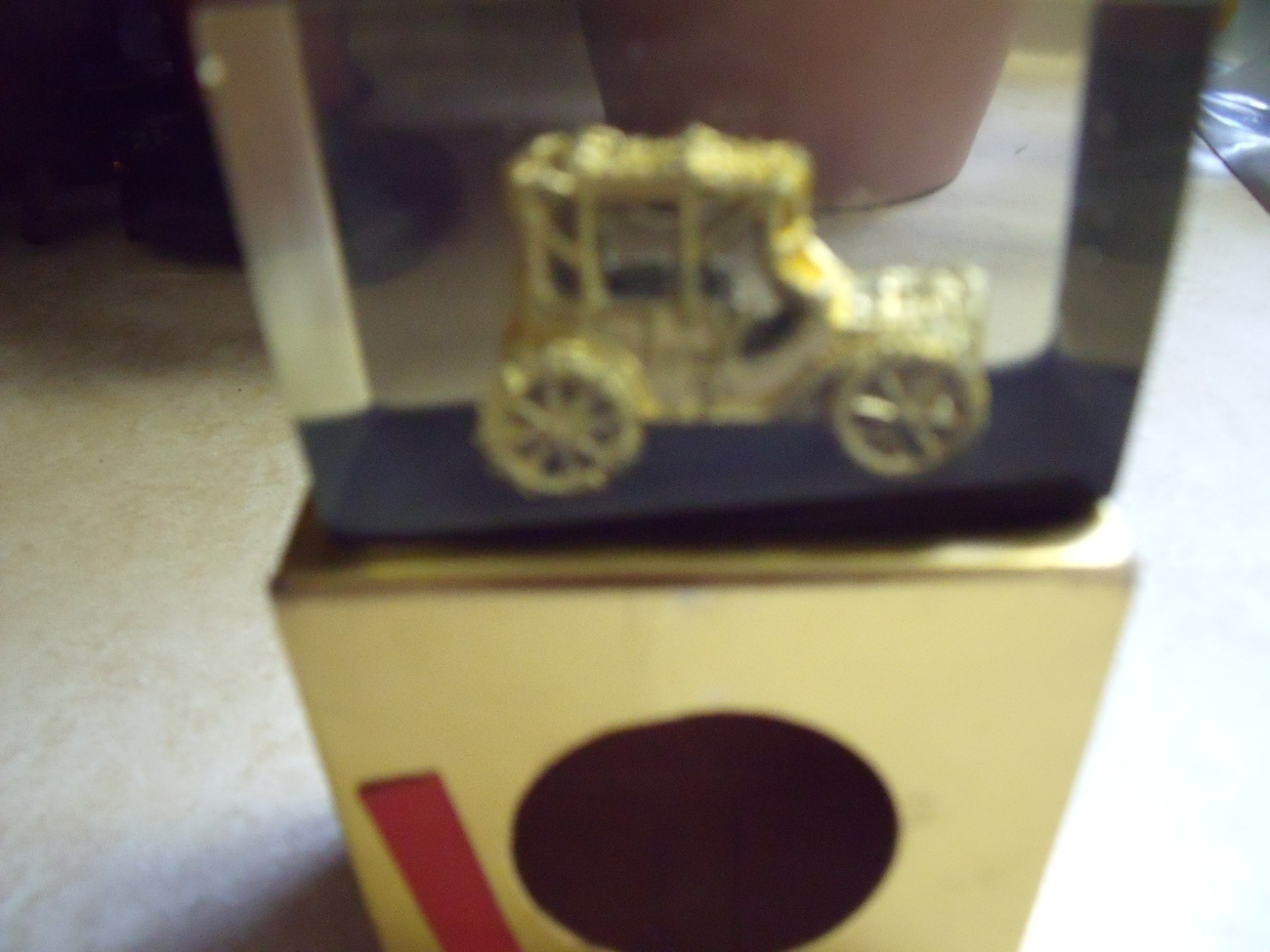 Antique car encased in cube paperweight new in box