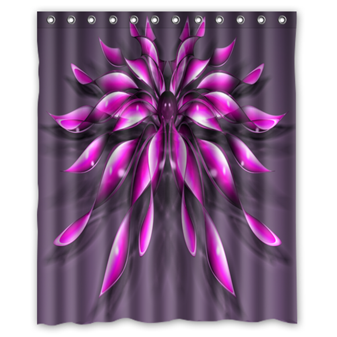 Pink Flower #01 Shower Curtain Waterproof Made From Polyester