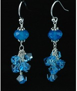 Sterling Silver Earrings_Caribbean Blue Opal and Aquamarine Crystals - $35.00