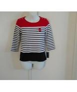 Karen Scott Women's Scoop Neck 3/4 Sleeve Striped Red Amore Top Size PP - $15.80