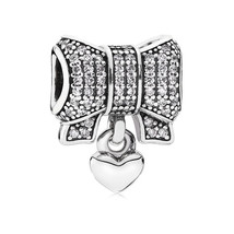 925 Sterling Silver Heart and Bow with Clear Zirconia Charm Bead QJCB791 - €20,19 EUR