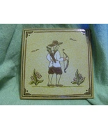 Rustic Bow Hunter Italian Ceramic Tile Tan Brown - $5.99