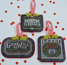 Part 2 Chalkboard Ornaments: Christmas Collection cross stitch Hands On Designs  - $9.00