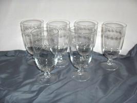 6 Vintage Fostoria Holly Clear Crystal Footed Iced Tea Glasses NICE - $94.05