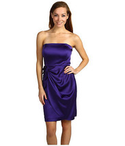 Calvin Klein Strapless Spaghetti Purple Satin Bow Cocktail Evening Prom ... - $65.99
