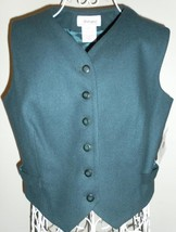 WORTHINGTON petite PURE 100% WOOL vest MALLARD BLUE classic Women's 10P ... - $30.10