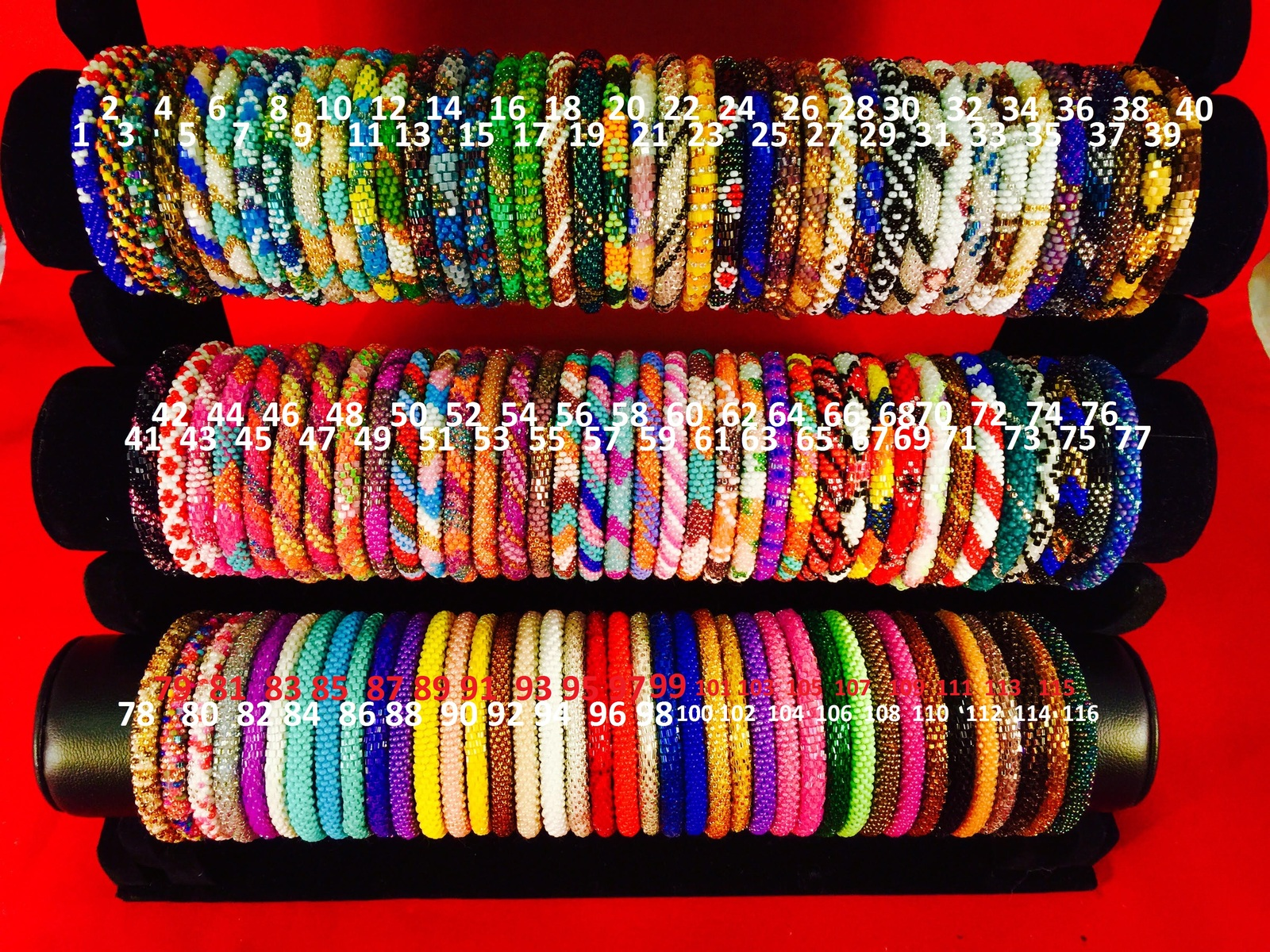 4 SET Nepal Rolls Glass Beaded bracelet crochet handmade bead bangle USA Exact