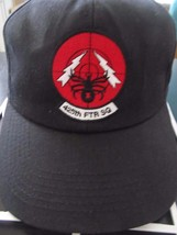 425 th FTR SQ Black Widows Spider Black Adj Baseball Cap Hat by LLDJ ! Unusual - $31.88