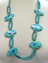 Collectif Fish Teal Wooden Bead Beaded Hand Painted Necklace Vintage - $27.71