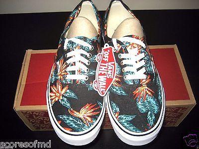 Vans Authentic Mens Vintage Aloha Black True White canvas boat shoes Size 10