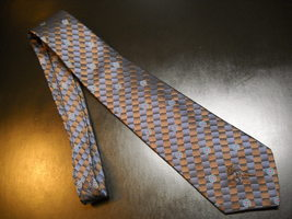 Countess Mara Neck Tie Diagonal Stripes of Browns and Blues Reinforced N... - $12.99