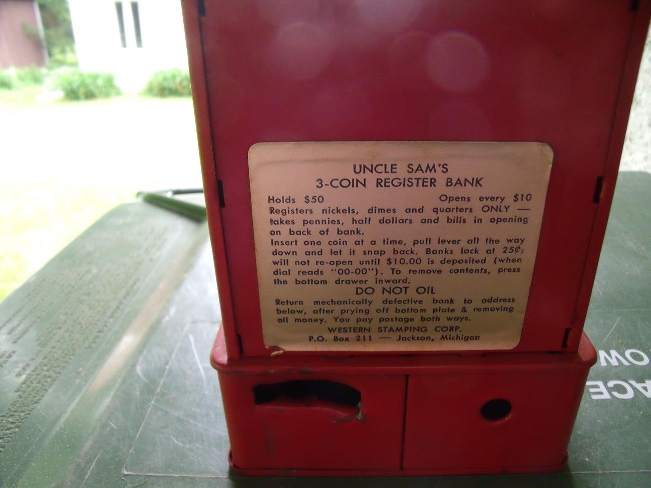 Uncle Sam's 3 Coin Cash Register Bank-Vintage