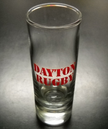 Primary image for Dayton Rugby Shot Glass Tall Size Clear Glass with Red Print and Heavy Base