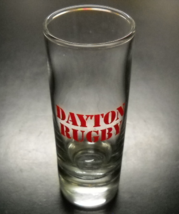 Dayton Rugby Shot Glass Tall Size Clear Glass with Red Print and Heavy Base - $7.99