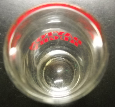 Dayton Rugby Shot Glass Tall Size Clear Glass with Red Print and Heavy Base