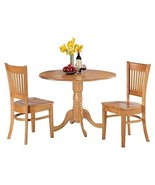 3PCS Drop-Leaf Dining Table Chairs Set Round Solid Wood Kitchen Small Sp... - $350.48