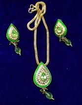 Traditional Fashion Goldtone Peridot Kundan CZ Necklace Earring Set 2 Day Shippi - $16.99