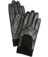 Charter Club Leather & Knit Touchscreen Gloves – Black, Medium - $49.40