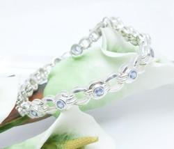 "Sterling Silver Tanzanite Link Tennis Bracelet 7.25"" - $144.00"