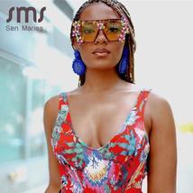 Oversized Colorful Diamond Sunglasses Women Luxury Fashion One Piece Square Sung image 2