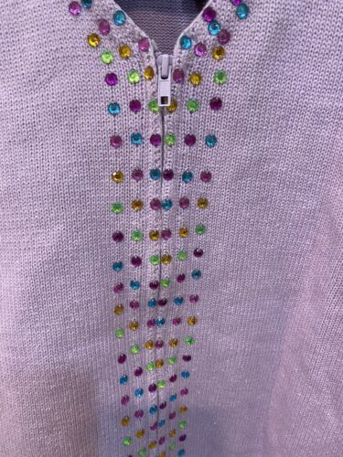 Storybook Knits Lavender Zip Up Cardigan Sweater Plus Size 1X Gems HSN image 3