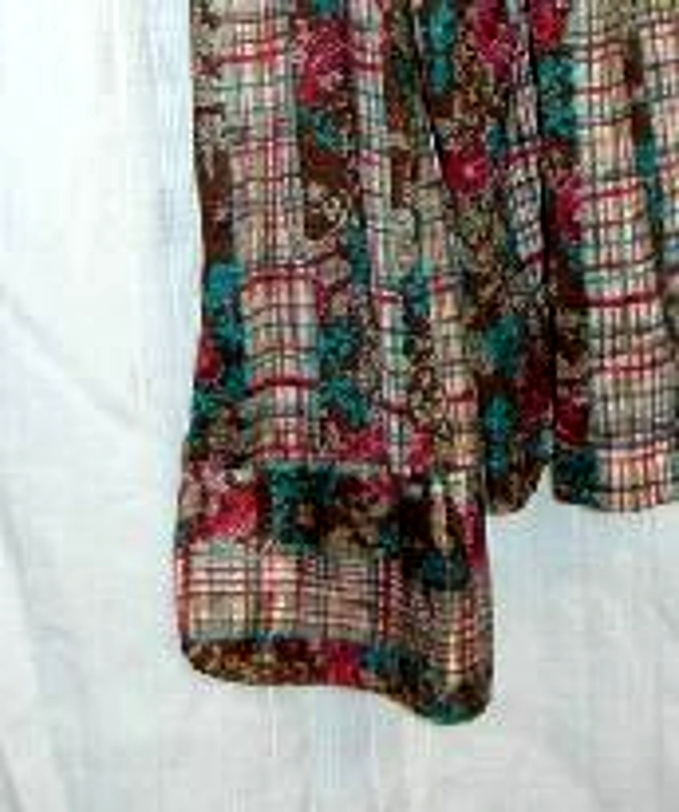 Floral and Plaid Print 70's Slinky Blouse Lg.
