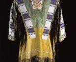Native American Buckskin Tan Blue Buffalo Leather Beaded Powwow War Shirt NA164 - €240,26 EUR