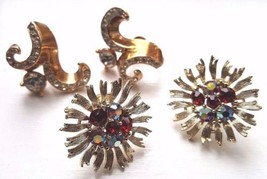 Two Pairs Vintage Lisner Earrings Screw Back Rhinestone Gold Tone Signed - $18.95